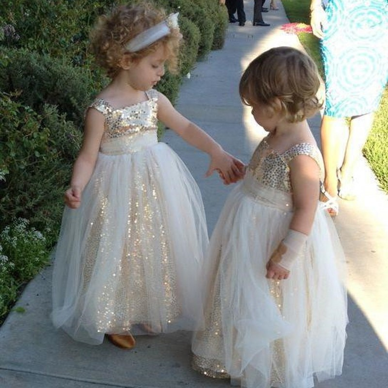 Aliexpress.com : Buy Shiny Gold Sequined Flower Girl Dresses 2016 ...