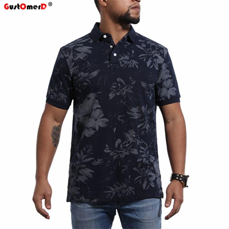 GustOmerD 2018 New Men's   Polo   shirt Brand Men black Contrast color   Polo   Shirts Summer Casual Floral   Polo   Shirts Men