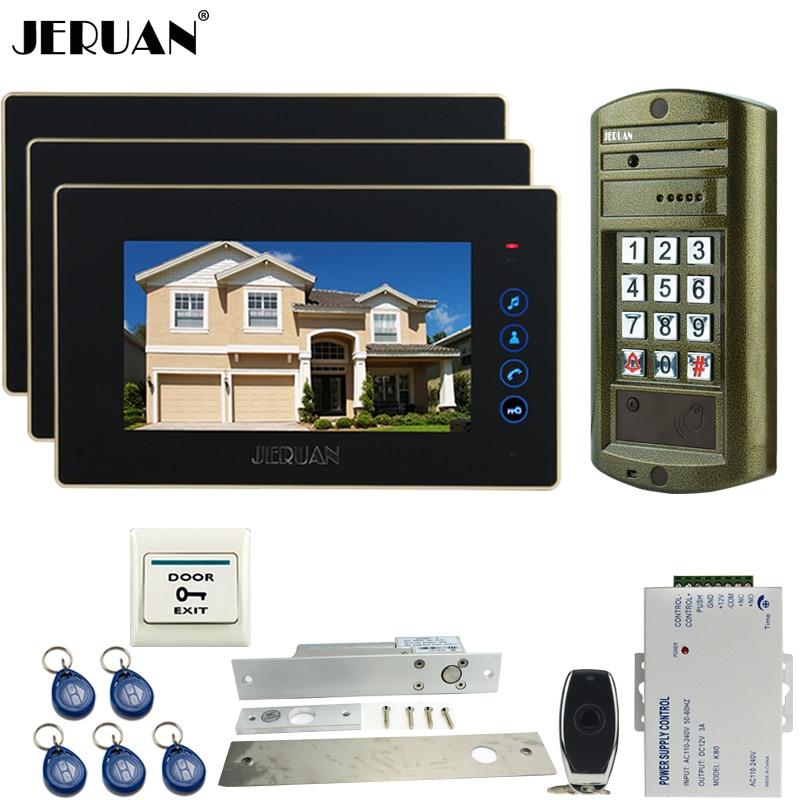 HOME 7 Inch Video Door Phone Intercom System Kit 3 TOUCH KEY Monitor+Metal Waterproof  HD Mini Camera+ELectric Drop Bolt LocK