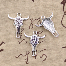 99Cents 4pcs Charms skull bull ox star head 32*26mm Antique Making pendant fit,Vintage Tibetan Silver,DIY bracelet necklace