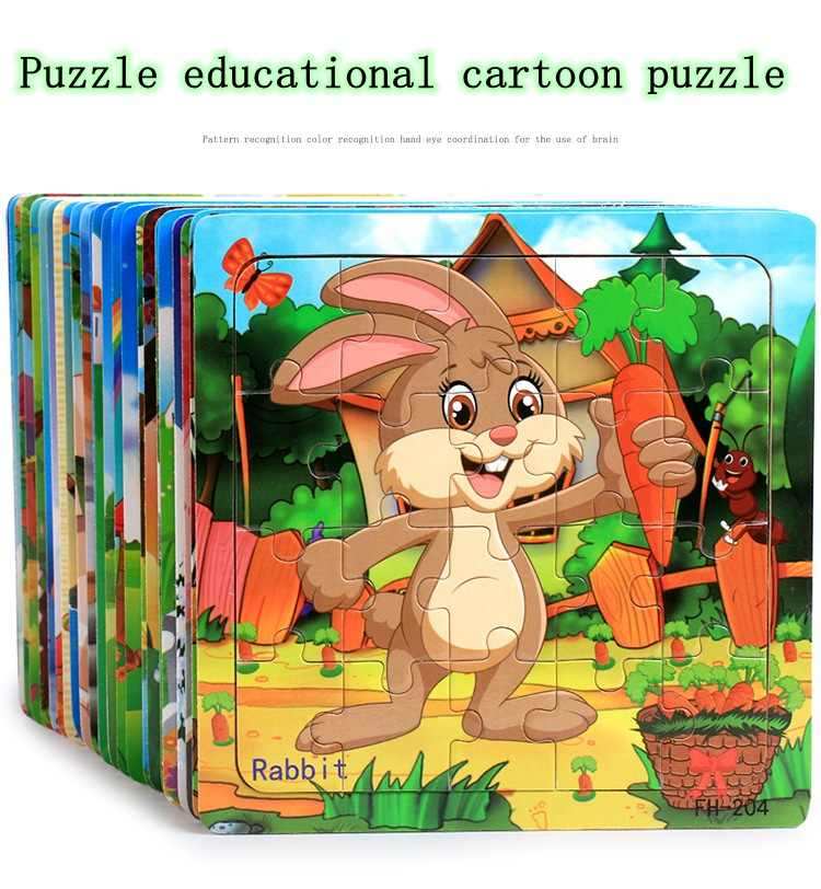 Деревянные игрушки-головоломки милые Мультяшные животные 3D стереоскопические Ранние развивающие, Обучающие игрушки-головоломки для детей Детские пазлы