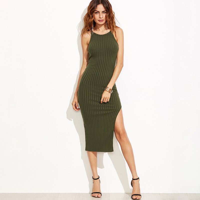 Bigsweety Fall Fashion Side Slit Ribbed Midi Dress <font><b>2018</b></font> Spring <font><b>Autumn</b></font> New Solid Color Women <font><b>Sexy</b></font> Bodycon Cami Dress Vestidos image