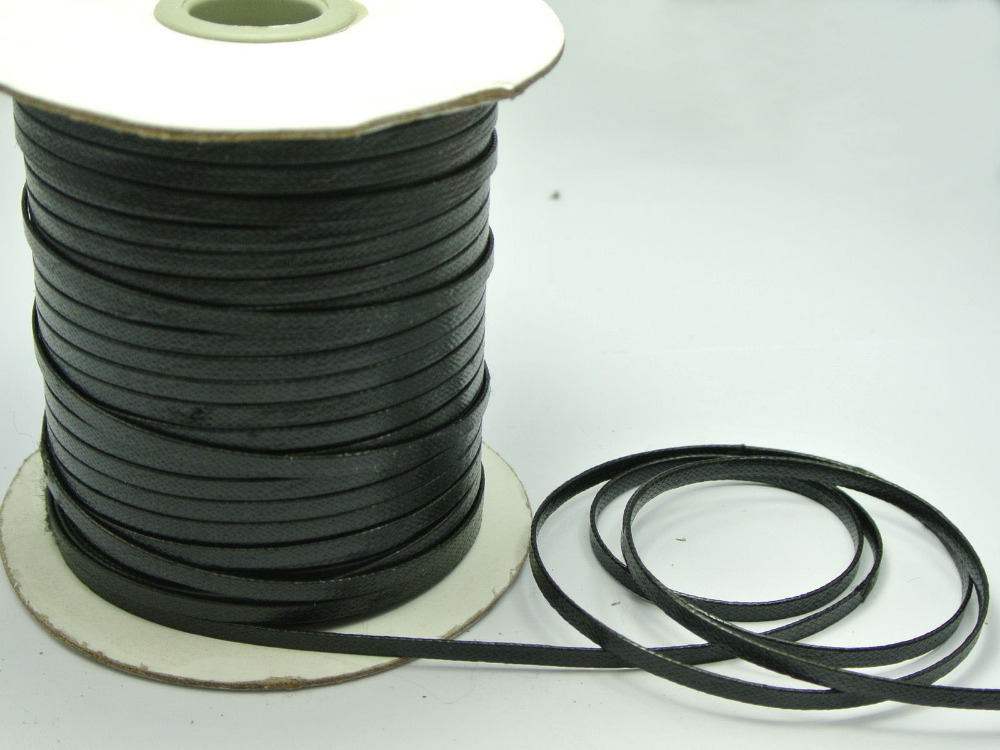100 Yards Black FLAT Korean Waxed Cord Craft Lace String Thread 4mm