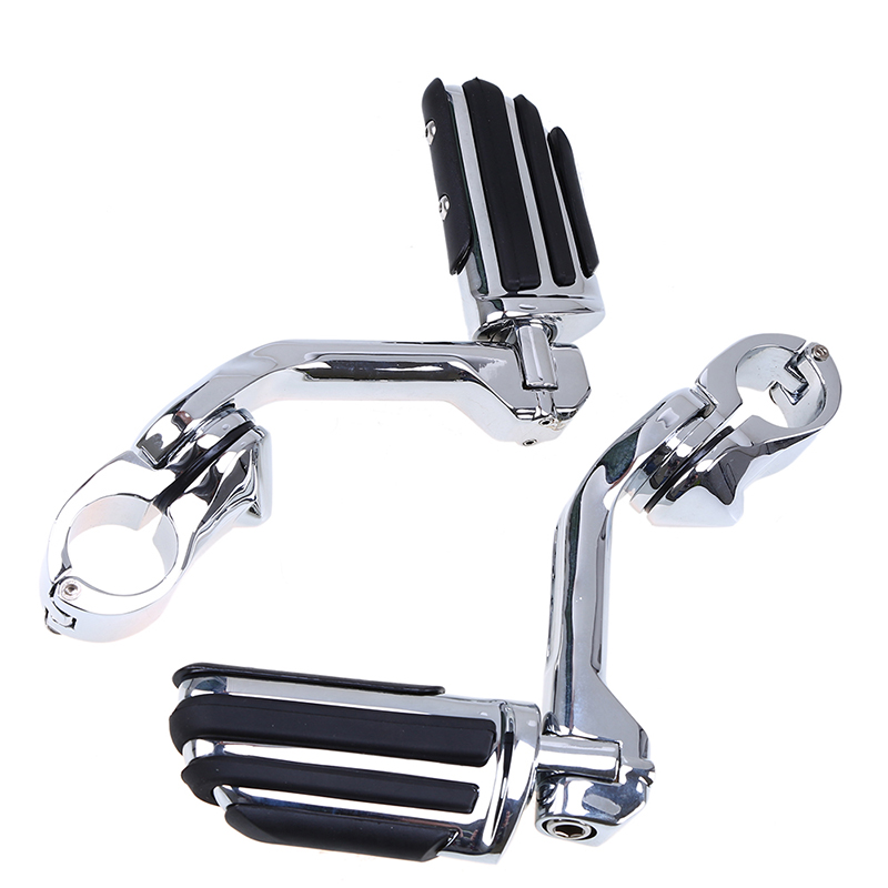 New Chrome Adjustable 32mm Engine Guard Foot Peg Motorcycle Footrest For Harley Davidson Touring Electra Road King Street Glide