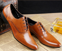 Fashion brown tan black brown mens dress shoes flats genuine leather oxford business shoes mens formal