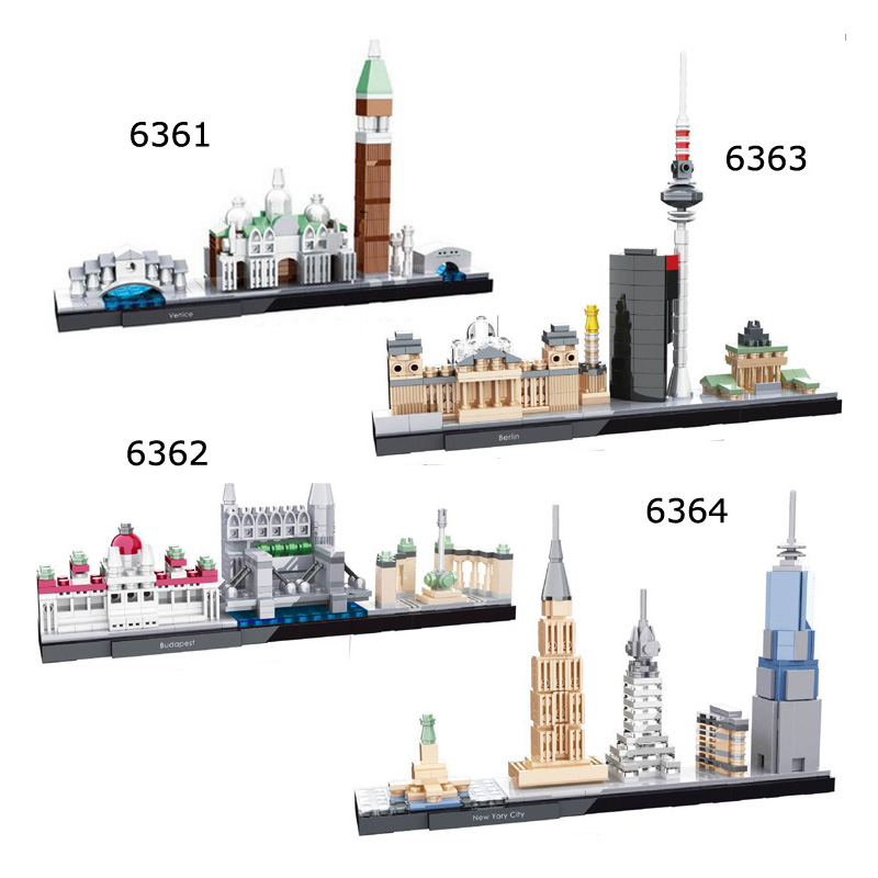 City Architecture Mini Street Block  Chicago Venice Berlin Budapest   Diy  Building Toy For Children Compatible