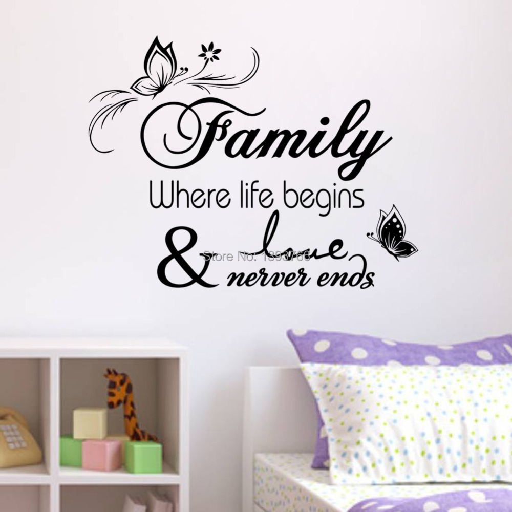 Family home decor creative quote wall decals decorative for Deco mural stickers