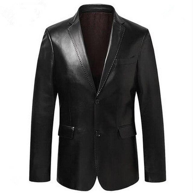 الرجال دعوى سترة جلد الغنم جاكيتات سليم ملابس خارجية الرجال ملابس رياضية جلد رجالي حقيقي جلد الغنم السترة أسود أزرق النبيذ الأحمر S14CZF1401