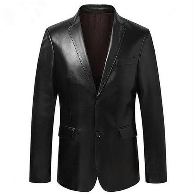 Chaqueta de traje para hombre, chaquetas de piel de oveja, ropa de abrigo ajustada, traje de cuero genuino para hombre, chaqueta de piel de oveja auténtica, chaqueta negra, azul, vino tinto S14CZF1401