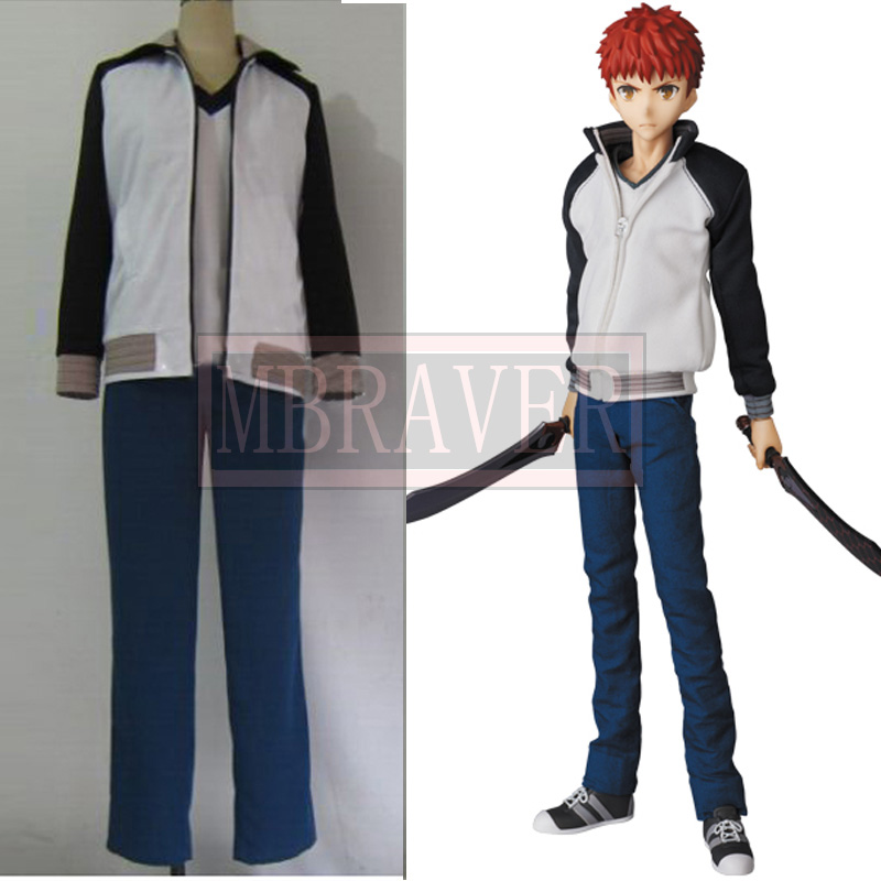 Anime Fate Stay Night Shirou Emiya Cosplay Costume Sports Wear Coat+T shirt+Pants