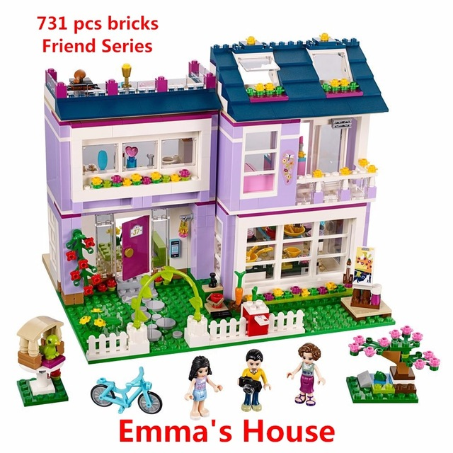 New Friends Series Emma's House Building Blocks Model Bricks Toys Compatible with Lego 41095 Educational toy Best Gift For Girls 2018 new girl friends fairy elves dragon building blocks kit brick toys compatible legoes kid gift fairy elves girls birthday