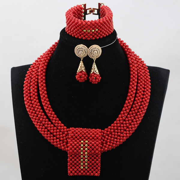 Fashion Wine Red Coral Beads Jewelry sets Handmade African Wedding Bridal/Women Beads Necklace Jewelry Set Free Shipping CJ852