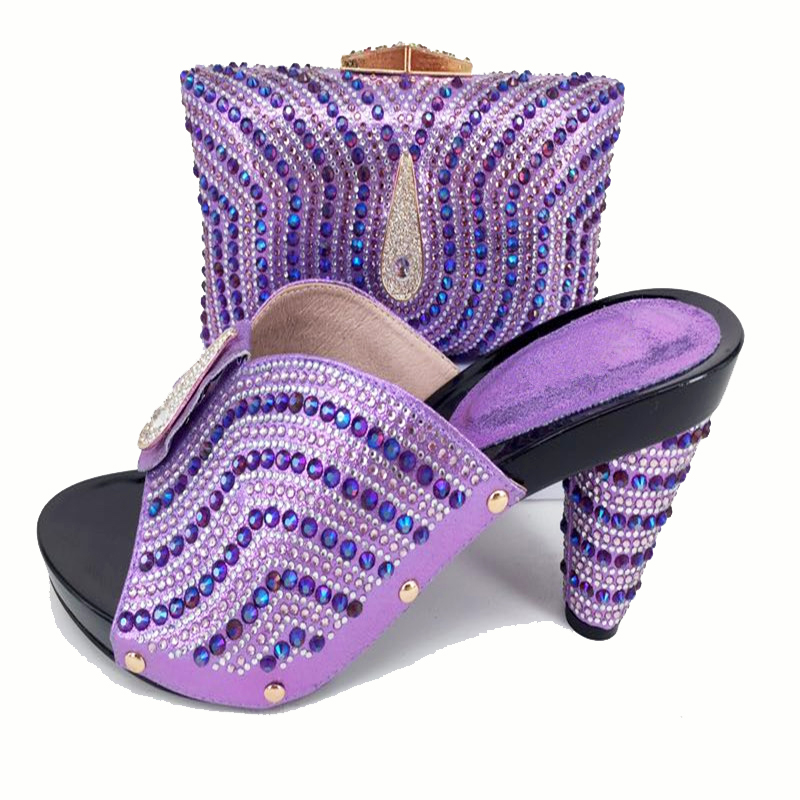 Elegant lilac shoes bag matching set for african lace fabric aso ebi party hand made high quality newest shoes and bag SB8137-8 все цены