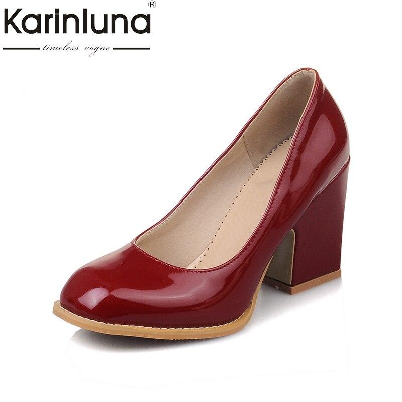 Karinluna Women Shoes Pumps Platform High-Heels Office Pink Elegant Black White Large-Size