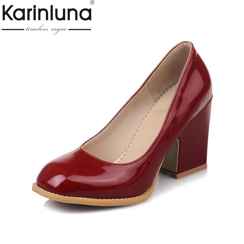 KarinLuna/Большие размеры 31 48; элегантная женская обувь на высоком каблуке; женские офисные туфли лодочки на платформе; цвет черный, розовый, белый