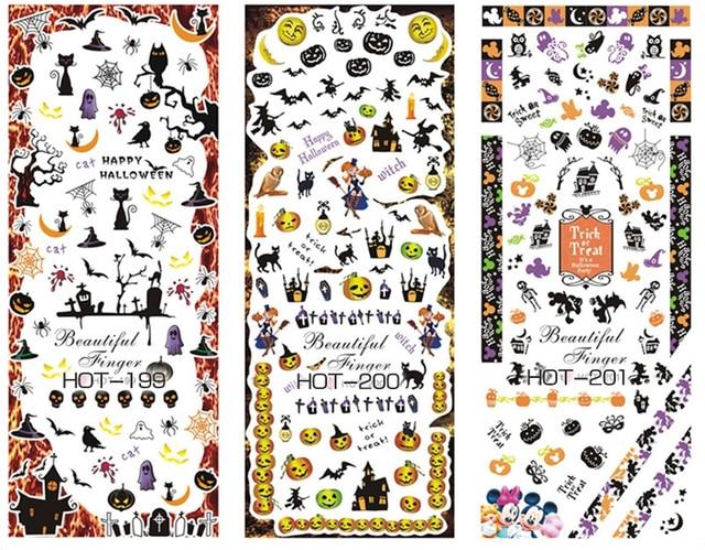 1 Sheet Pack Water Nail Seal Design Of Cobweb Pumpkin Spider Bat Cat Stickers Decals