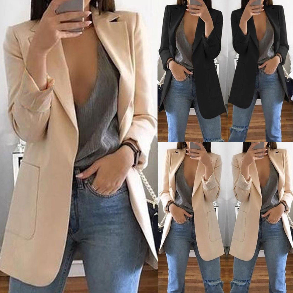 Fashion Slim Blazers Women Autumn Suit Jacket Female Work Office Lady Suit Black With Pockets Business Notched Blazer Coat(China)