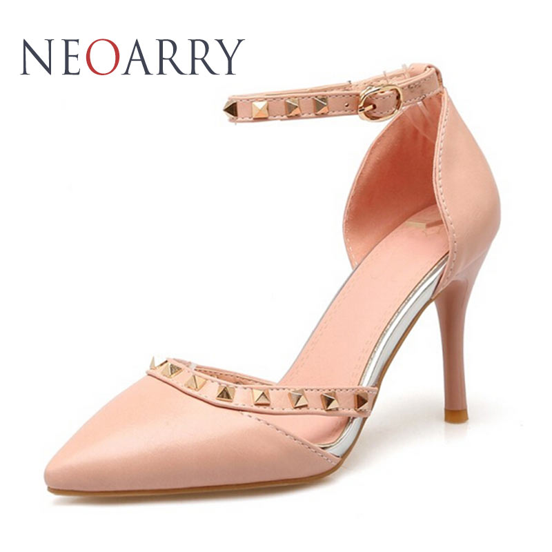 NEOARRY New Comfy Casual Leather Pu Shoe Studded Stiletto Heels Women Shoes  Shoes Pumps Hollow Pointed Ankle Buckle JT145 ankle wrap pantshoes hasp korean stiletto heels nice cusp pu red sole shoes japanned leather cutwork pu ol