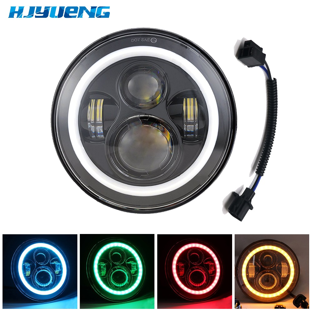HJYUENG High quality 7Inch Round Led Headlight Halo Angle Eyes led headlamp for Jeep Wrangler Unlimited JK LJ TJ 2pcs 2017 new design 7 inch 40w motorcycle led auto angel eyes led headlight bulb with high quality