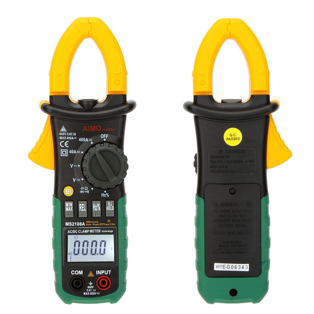 MS2108A Digital Multimeter Clamp Meter Current Clamp Pincers AC/DC Current Voltage Capacitor Resistance Tester auto digital clamp meter mastech ms2108a pincers ac dc current voltage capacitor resistance tester aimometer multimeter amper