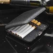 (20 cigarettes) Vintage Metal Cigarette Case Black Frosted Cigarettes Box Compressive Moisture Tobacco accessories