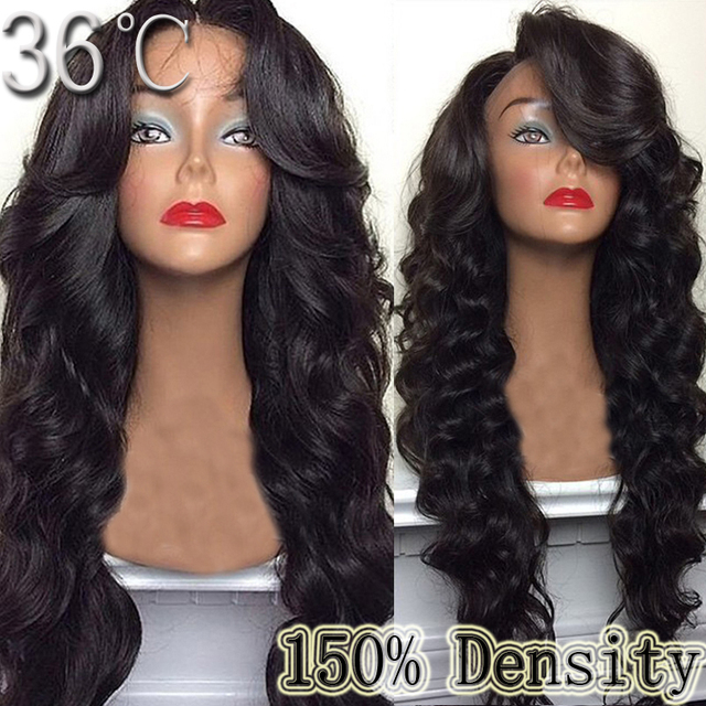 150% Density Wavy Lace Front Wig Glueless Full Lace Wig Wavy Natural Black  Color100% Virgin Peruvian Human Hair Wigs With Bangs 892bd1b7ce