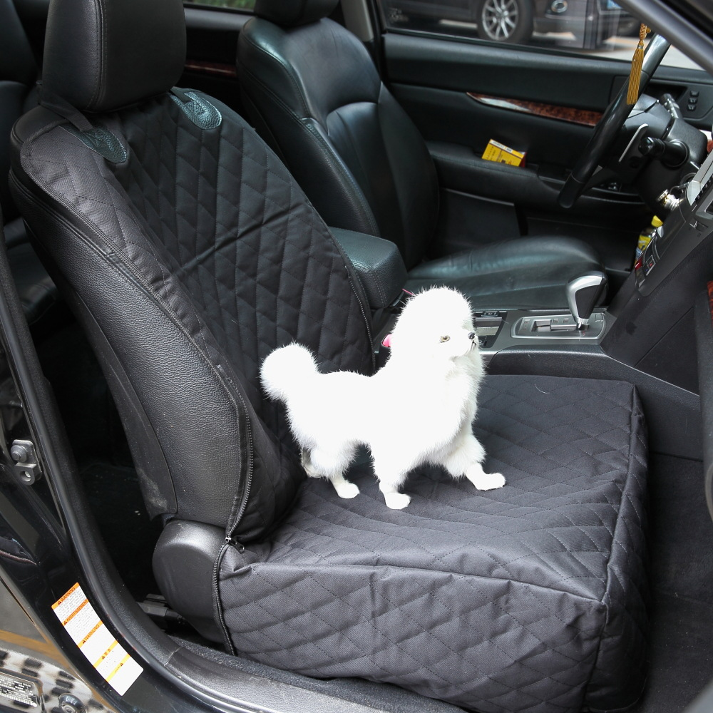 New arrival 2017 Auto Waterproof Pet Seat Cover Pet Car Seat Belt for Cars 1piece black Front seat cover for pet with Zipper