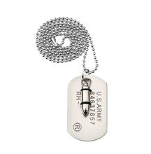 Army Bullet Dog Tag Pendant Necklace