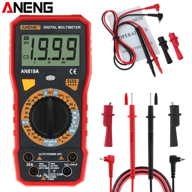 Aneng AN819A Digitale Multimeter Ac/Dc Spanning Ampèremeter Capaciteit Weerstand Triode Tester Current Meter + Crocodile Clips