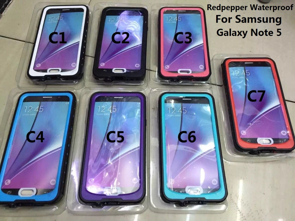 imágenes para 10 unids/lote, redpepper case para samsung galaxy note 5,100% impermeable para note5. con pimiento rojo paquete al por menor. envío libre de DHL