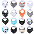 12Pack 100% Cotton Baby Bandana Drool Bibs Infant Babador Soft Absorbent Teething and Dribble Bib with Adjustable Snaps for Baby
