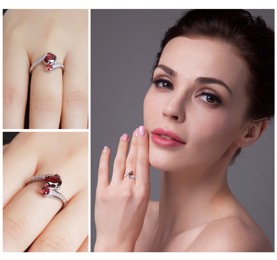 JewelryPalace Vintage Charm Gift Jewelry Genuine Garnet Ring ...