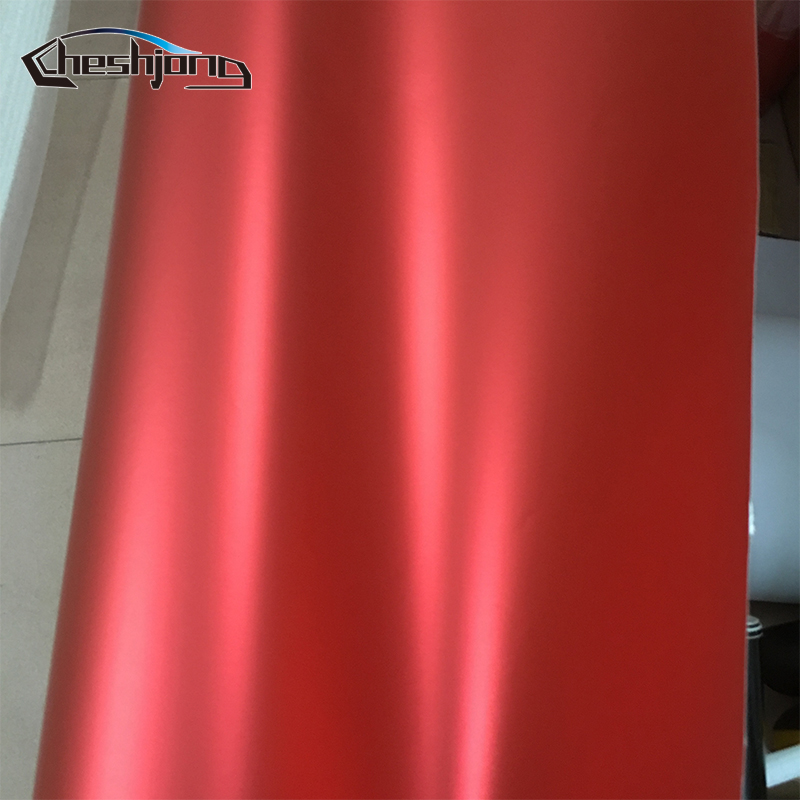 Red Super Matt Metallic Chrome Vinyl Wrap Film with Air Bubble Free Matte Chrome Vinyl Motor