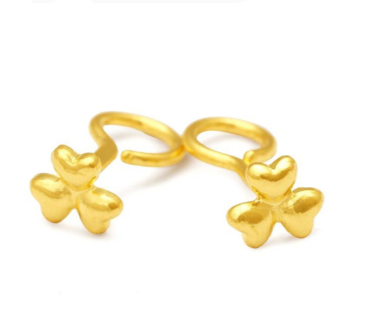 Fashion Authentic 24k Yellow Gold Earrings Lucky Le Earring Stud 1 75g