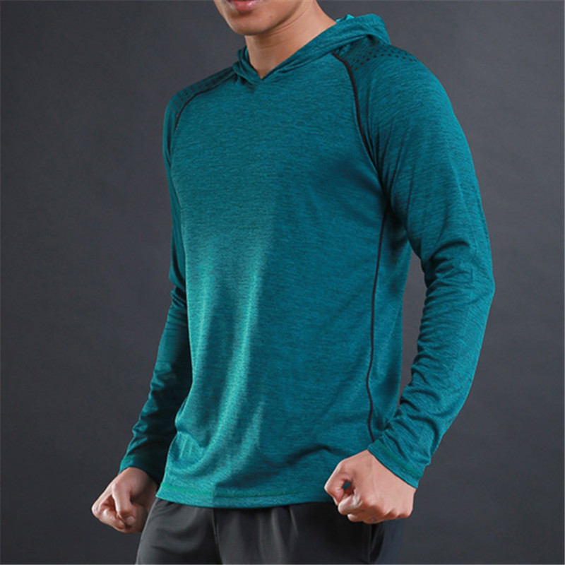 WOSAWE Spring Running T Shirts Quick Dry Mens Hooded Collar Tops & Tees Shirt Men Full Sleeve Slim Male hoody Training