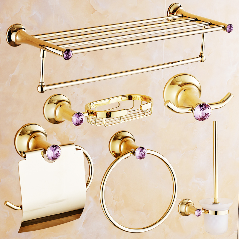 European Antique Pink Crystal Bathroom Products Polish Gold Accessories Set Paper Holder Shelf Soap Dish Robe Hook In Sets