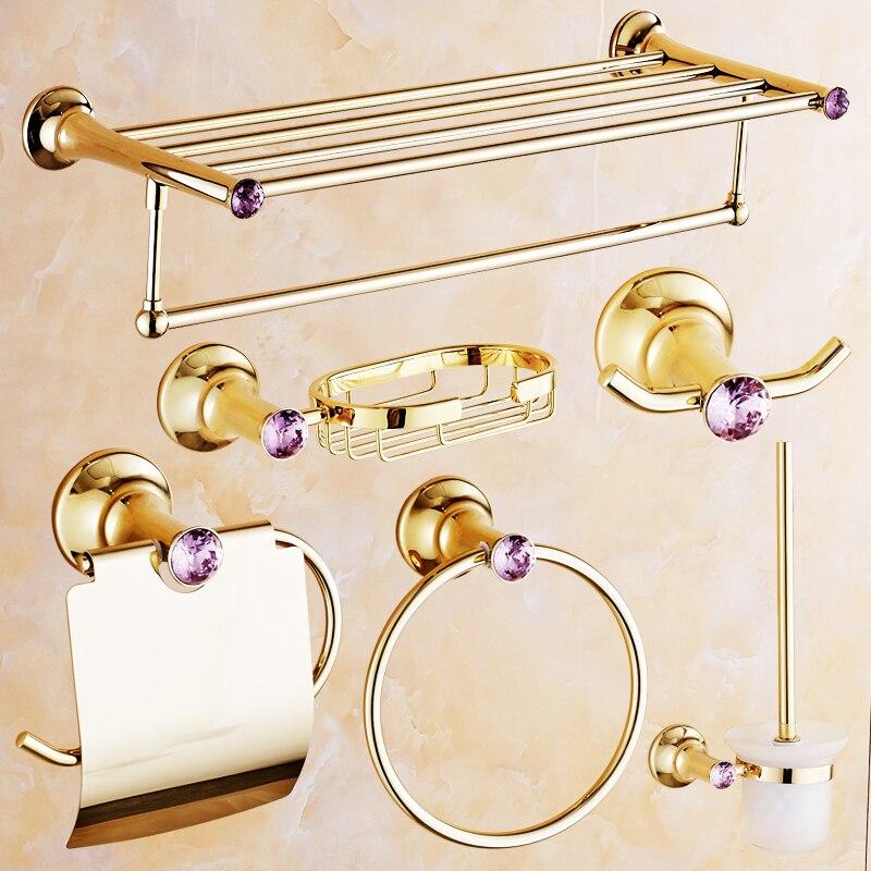 Produits de salle de bains en cristal rose Antique européen accessoires de salle de bains en or polonais mis porte-papier/étagère/porte-savon/crochet de Robe