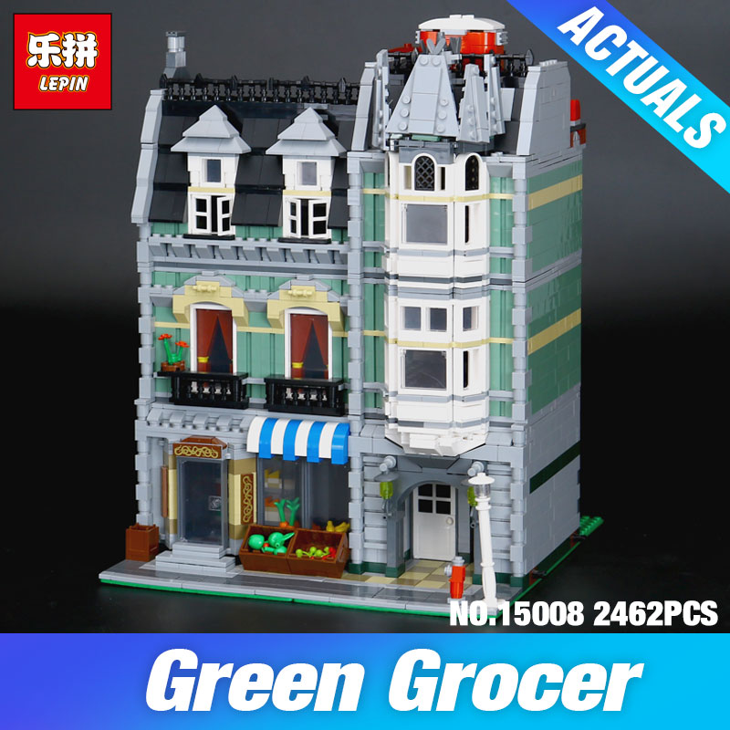 Lepin 15008 2462Pcs Green Grocer Model Compatible 10185 City Street Building Kits Bricks Educational toys Blocks Children Gift lepin 15008 new city street green grocer model building blocks bricks toy for child boy gift compatitive funny kit 10185 2462pcs