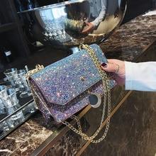 ФОТО takem ins women sequined shoulder crossbody bags messenger bag fashion women's leather small flap bag chain strap female  bolsa