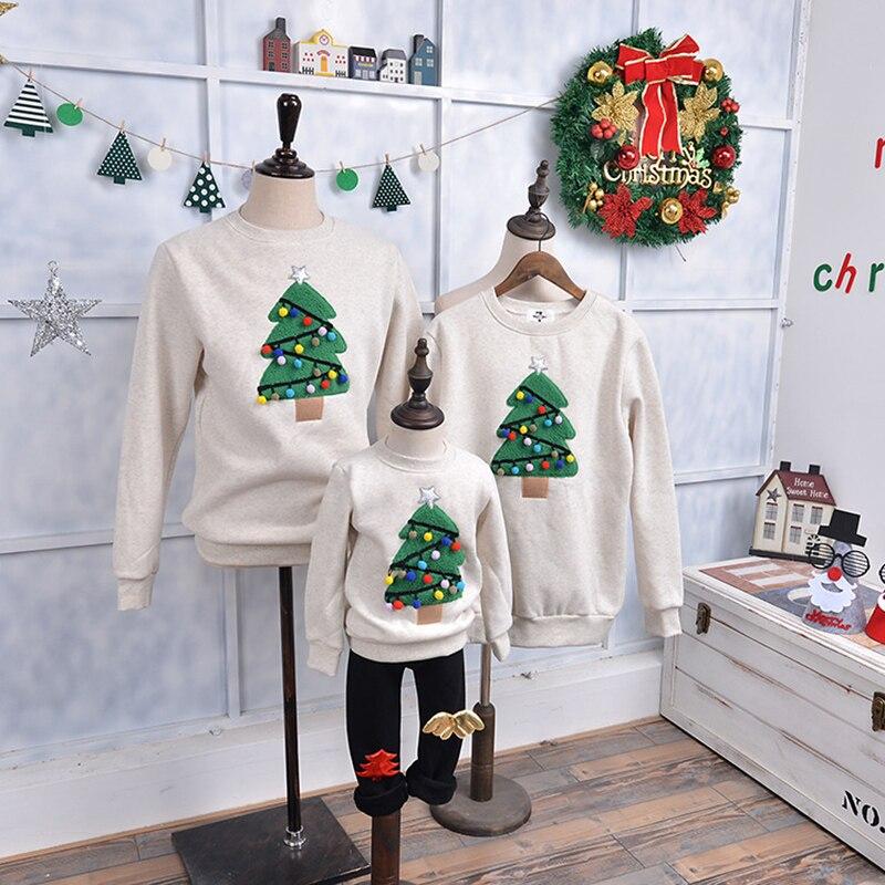 חג המולד סוודר חולצה משפחת בגדי איל עץ צבי חדש שנה התאמת תלבושות אב אם בן בת אמא לי ילד חורף