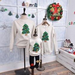 Natal camisola camisa da família roupas rena árvore veados ano novo combinando roupas pai mãe filho filha mãe me criança inverno