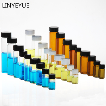 All Sizes Glass Sample Bottles with PP cap+PE pad Essential oil bottle Screw Cap Glass Test Tube for Laboratory glass test tube corked bottle 15ml tube with flat bottom 27 50mm wishing glass bottle home storage jars for flower 50pcs lot