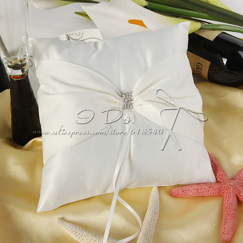 Wedding Accessories 2013 New Arrival Free Shipping Ivory Satin Wedding Ring Pillow With Bow And Rhinestones