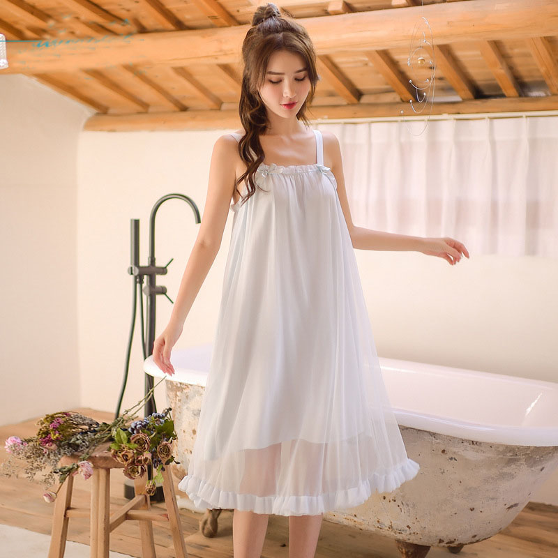 2019 Summer   Nightgowns     Sleepshirts   Sleepwear Women Bow Slash Neck Night Wear Princess Dress Plus Size Homewear