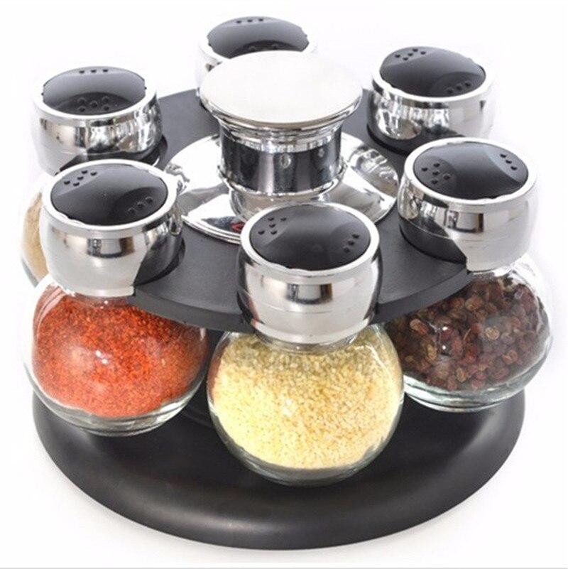 6 pièces/ensemble! Offre spéciale stockage de verre épices bouteille rack convient sel et poivre Scrylic assaisonnement boîte avec Organization stockage Rack