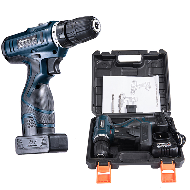 25V Cordless Electric Drill Lithium Battery Cordless Screwdriver Double Speed Electric Screwdriver Household Electric Tools