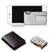 Mini slim wallet with money clip fashion business credit card ID holder solid anti-chief case protector #YL5 3