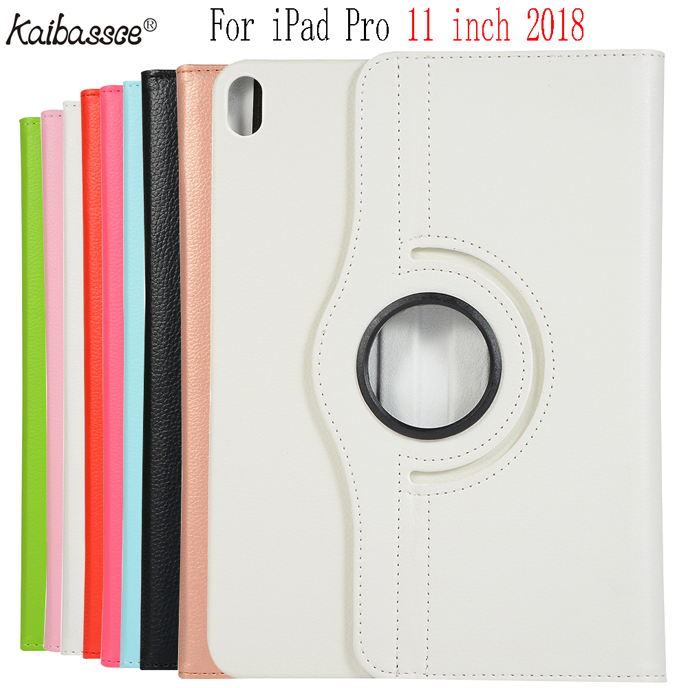 Kaibassce 360 Diploma Rotating Leather-based Sensible Flip Wake Up Pill Case For Ipad Professional 11 Inch 2018 A1980