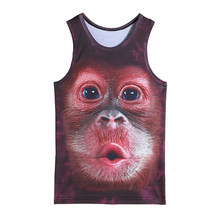 Mens animal gorilla monkey printed 3D Tank Tops Exercise Sleeveless tops for boys bodybuilding clothing exercise undershirt vest(China)