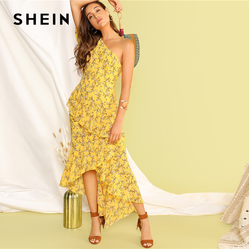 Image 5 - SHEIN Boho Yellow One Shoulder Layered Asymmetrical Ruffle Hem 